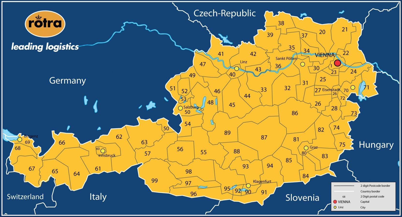 Osterreich Plz Karte Karte Von Osterreich Plz Western Europe