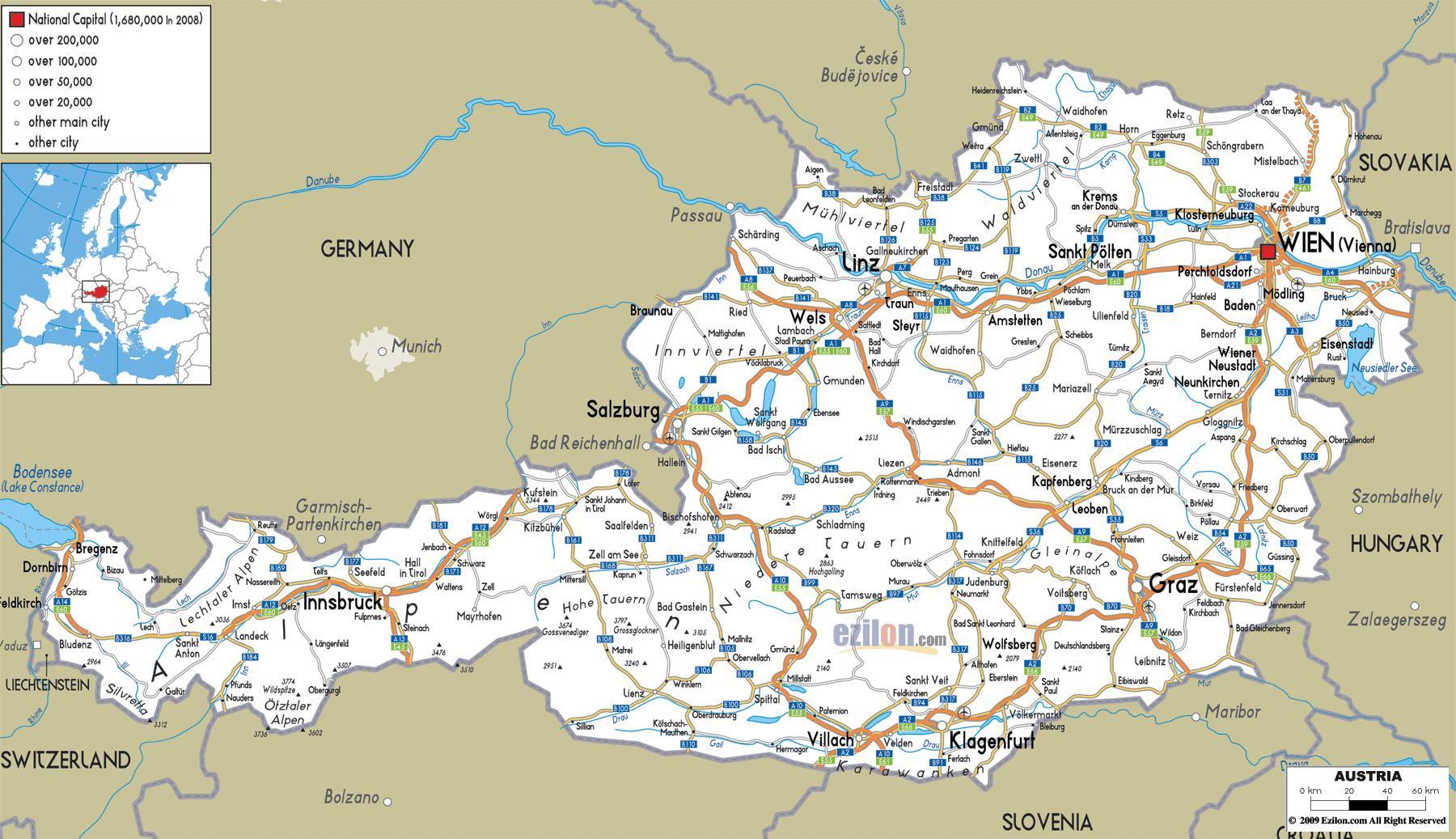 Karte Von Europa Mit Städten.österreich Städte Karte Detaillierte Karte Von österreich Mit Den