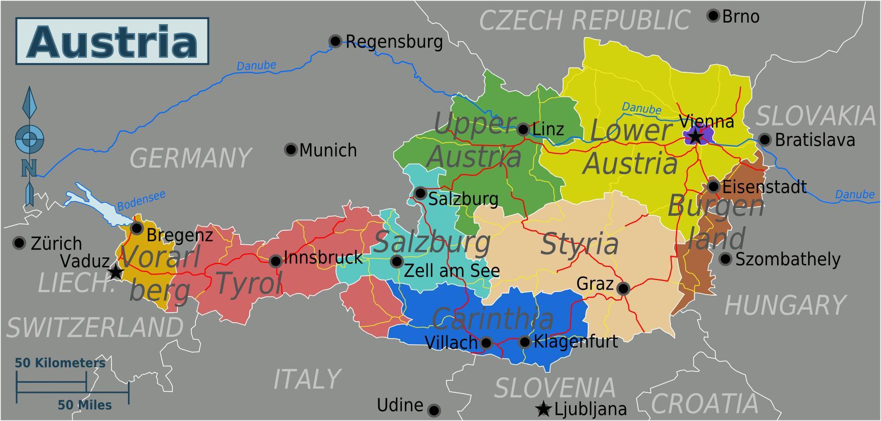 Bundeslander Karte Karte Der Osterreichischen Bundeslander West
