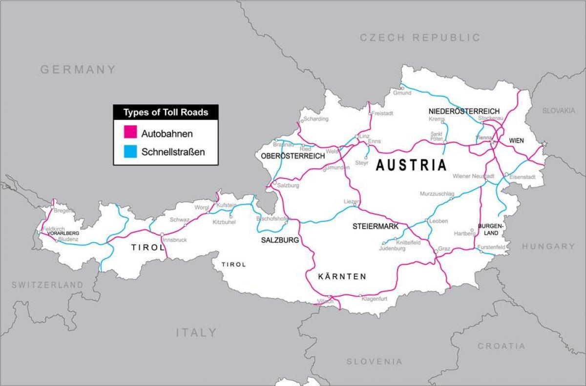 Osterreich Mautstrassen Anzeigen Mautstrassen In Osterreich Karte