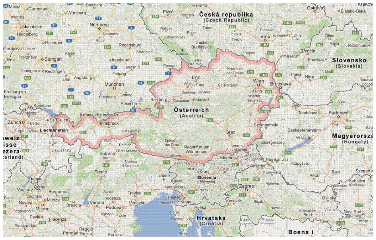 Karte Von Osterreich Osterreichischen Grenze Karte Western